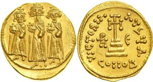 Heraclius, Constantijn III en Heraklonas, ± 640. Foto Otto Nickl